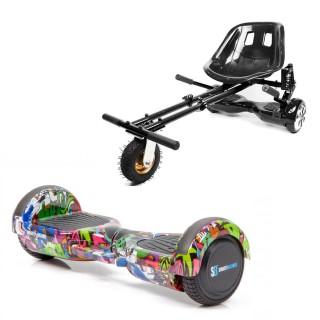 Hoverboard Smart Balance™, Regular Multicolor cu Maner + Hoverseat Cu Suspensii, roti 6,5 inch, Bluetooth, AutoBalans