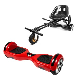 Hoverboard Smart Balance™ Premium Brand, Regular Rosu + Hoverseat cu suspensii, roti 6,5 inch, putere 700W, autonomie 15 km, LED