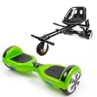 Hoverboard Smart Balance™ Premium Brand, Regular Green + Hoverseat cu suspensii, roti 6,5 inch, putere 700W, autonomie 15 km, LED