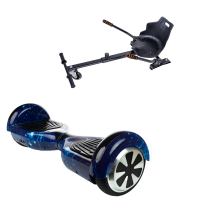 Hoverboard Smart Balance™, Regular Galaxy Blue + Hoverseat, roti 6,5 inch, Bluetooth, Led