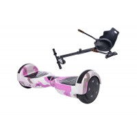Hoverboard Smart Balance™, Regular Camouflage Roz + Hoverseat, roti 6,5 inch, Bluetooth, AutoBalans