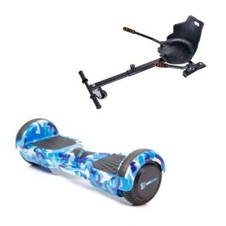 Hoverboard Smart Balance™  Regular Camouflage Blue cu Maner + Hoverseat, roti 6,5 inch Bluetooth, Baterie Celule Samsung, Boxe incorporate, putere 700W, led-uri